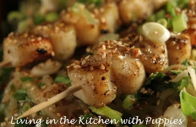 ... : Grilled Scallops with Citrus-Ginger Sauce and Rice Noodle Salad