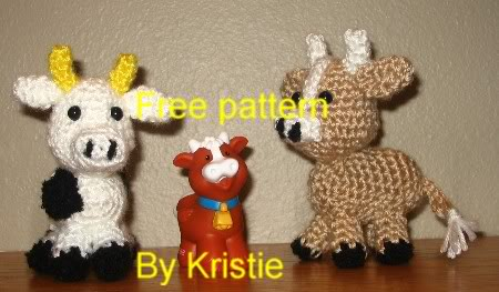 Free CROCHET Patterns: HAND PUPPETS Crochet Patterns Kitty Cow Pig
