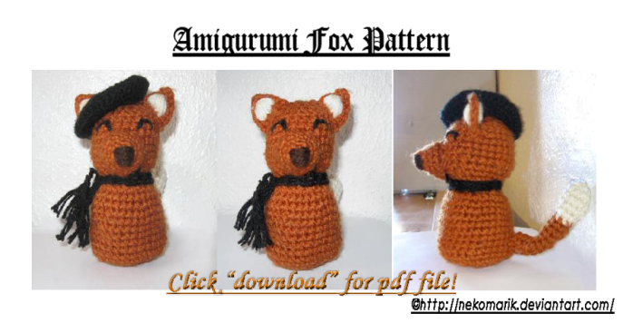 Fox Amigurumi Ravelry : 2000 Free Amigurumi Patterns: Amigurumi Fox Pattern
