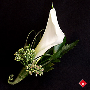 Red calla lily boutonniere