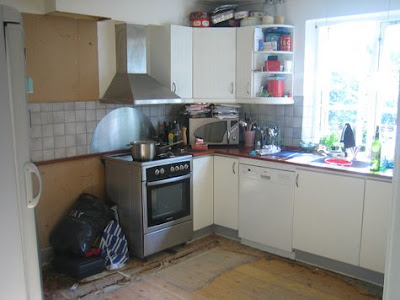 kitchen is a sink and a stove