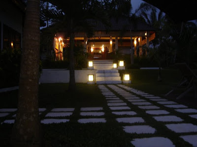 One of the boutique hostels in Bali at night
