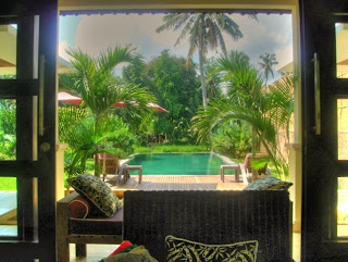 view from a rice field boutique accommodation near Ubud Bali