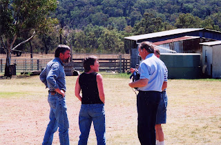 During our return, the owners organised to have an ABC Radio journalist interview us about our life on the farm and the impact it had on our future. Here Ross is on the left, then me, then the journalist and Barry is obscured. To the right of the journalist, you can see the tank stand at the back of the small shed.
