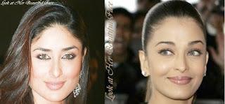 Kareena Kapoor and Aishwarya Rai Facial Characteristics