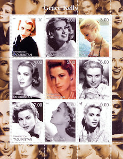 Grace Kelly's Beautiful Face As Stamp Theme Of Tajikistan 2000