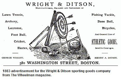 1883 ad for Wright &amp; Ditson sporting goods