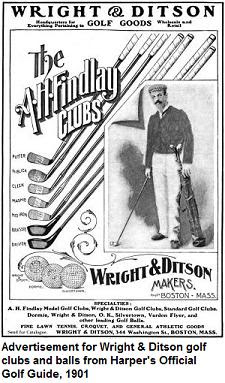 1909 Wright &amp; Ditson ad for golf clubs and balls