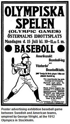 Swedish poster advertising exhibition baseball game at the 1912 Olympics in Stockholm