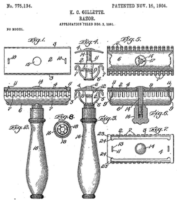 Drawing of Razor for Patent Awarded to Gillette in 1904
