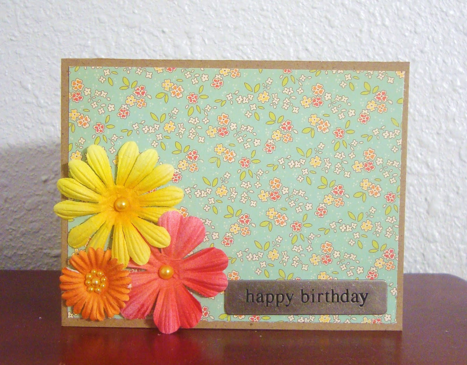 Its Simple Just The Way She Likes It Moms Not One For Big Fancy Frou Stuff I Created A Standard A2 Card Base From Kraft Cardstock And Added