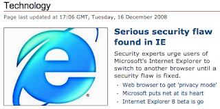 BBC News Technology featuring IE's suck