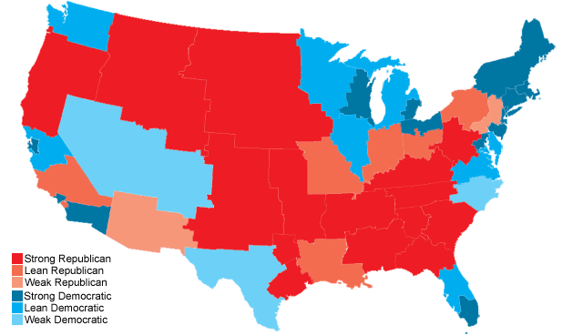 50 Equal States Electoral Map