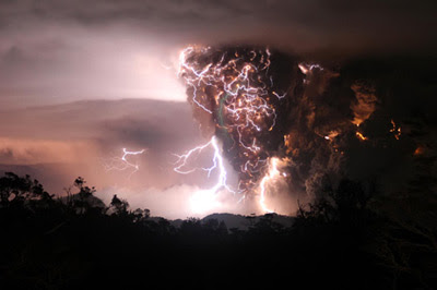 Chaiten Volcano in Chile erupts during a lightning storm