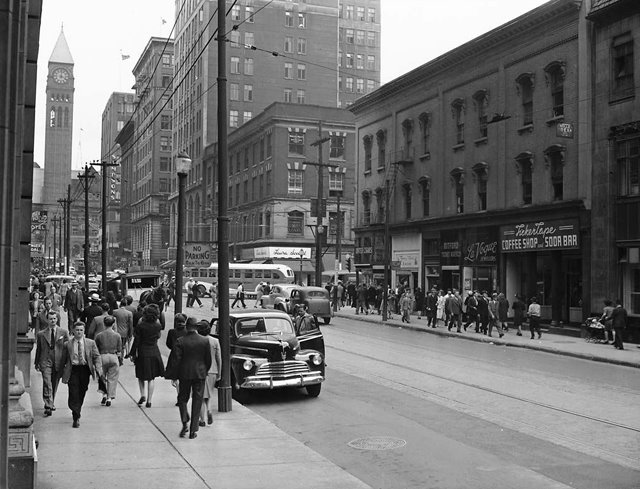 Bay street and Adelaide street 1940