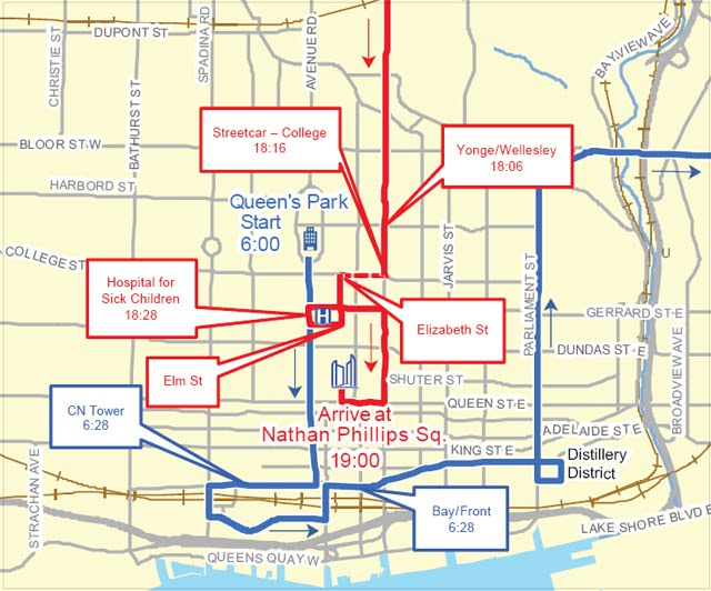 2010 Toronto Olympic Torch Relay Route Map