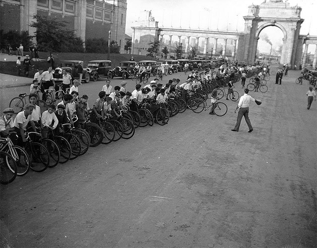 cyclists race CNE 1930 Toronto
