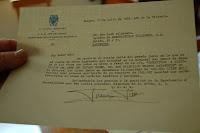 Carta firmada conforme el Govern de Francisco Franco havia rebut la primera donació per al retorn de la fàbrica als Viladomiu, després de la col·lectivització que tingué lloc el 1936.