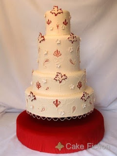 Indian Wedding Cake with Damask and Paisley Shapes