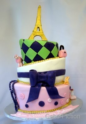 Cake Fiction: Eiffel Tower Topsy Turvy Sweet Sixteen Cake