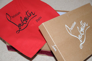 Christian Louboutin sandals, box and red bag