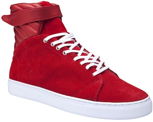 red high top tennis shoes