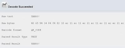 Yahoo QR code decode result