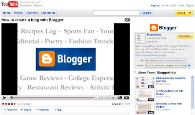 put youtube video on blog
