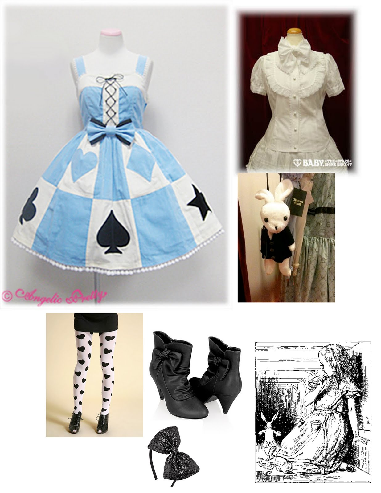White apron alice in wonderland - The Knight Cards The Blue X White X Black The White Rabbit Even The Queen Of Heart Is Included