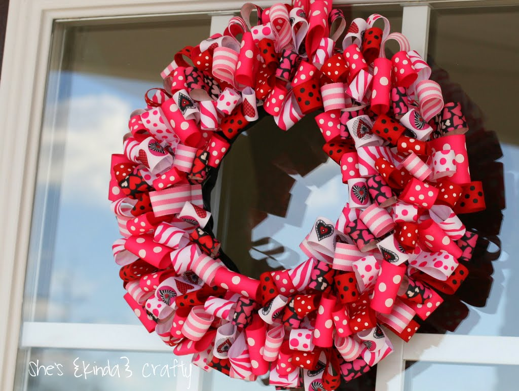 Valentine Ribbon Wreath Shes Kinda Crafty