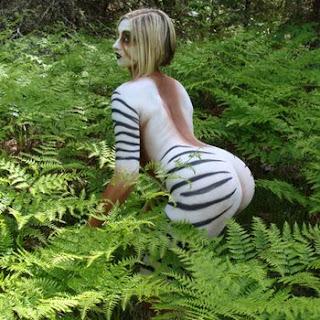 Zebra Body Painting on Women