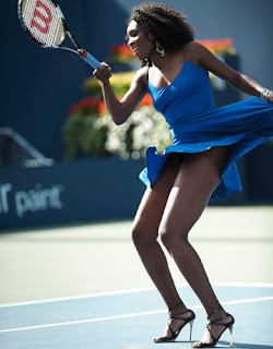 Venus Williams playing tennis in high heels