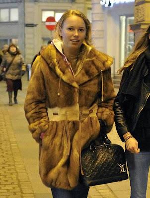 Caroline Wozniacki in fur