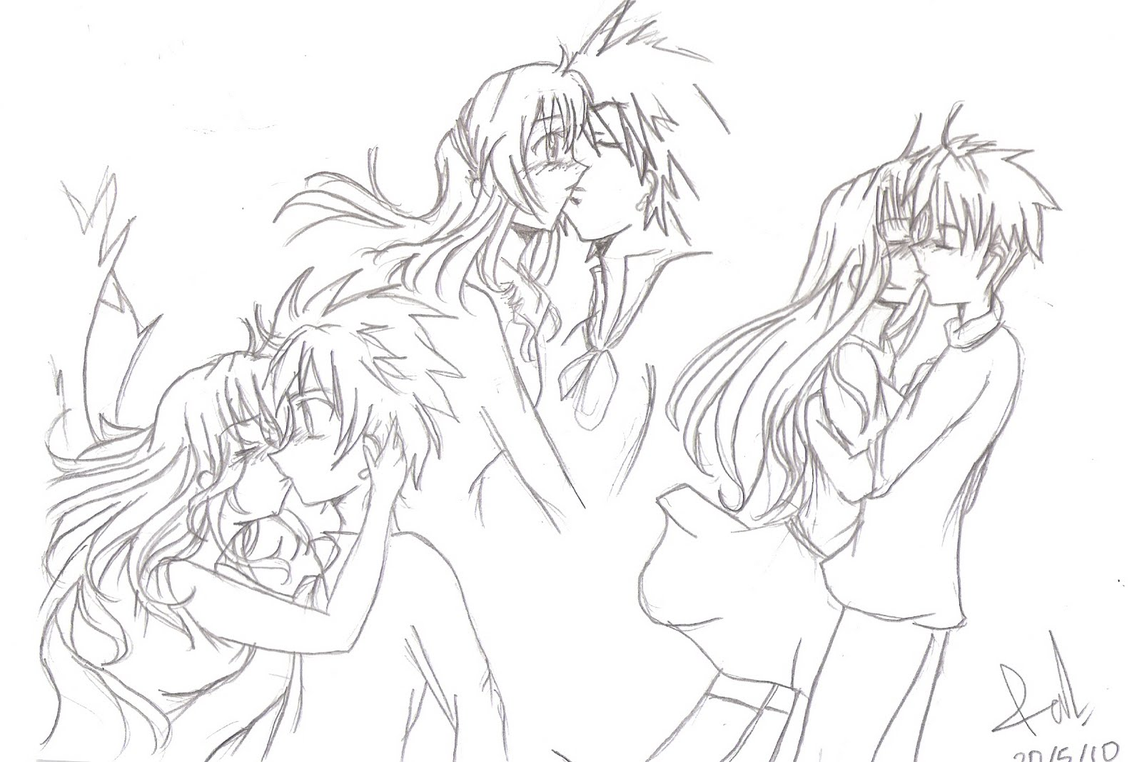 Anime Characters Kissing Drawing : So ya this is the first drawing kagura ikira my