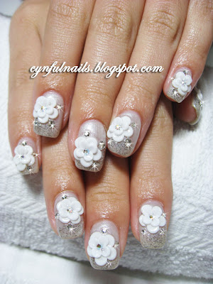 flower designs for nails. Bridal gel nails!