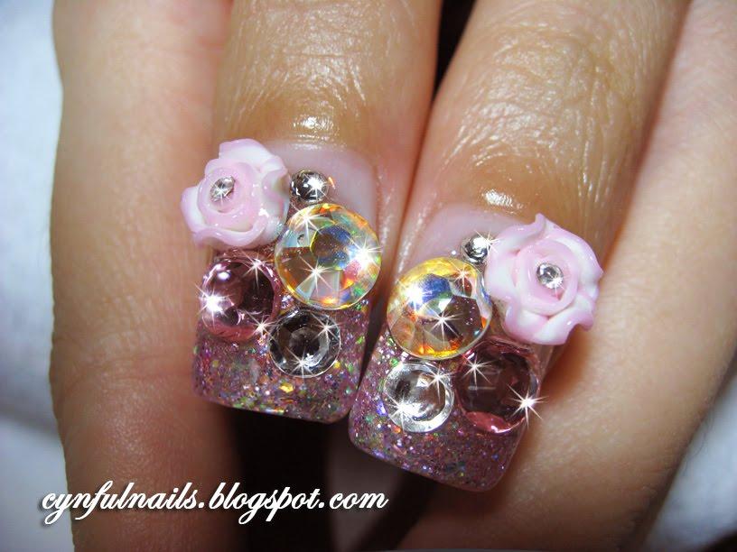 Cynful Nails: Big hearts, pink bows.