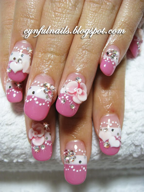 Pink And White Nails Vs Gel. Gel nails. Roses and hearts.