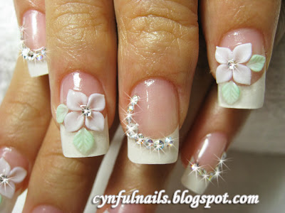 Cynful Nails French Nails With Lilac Petal Flowers