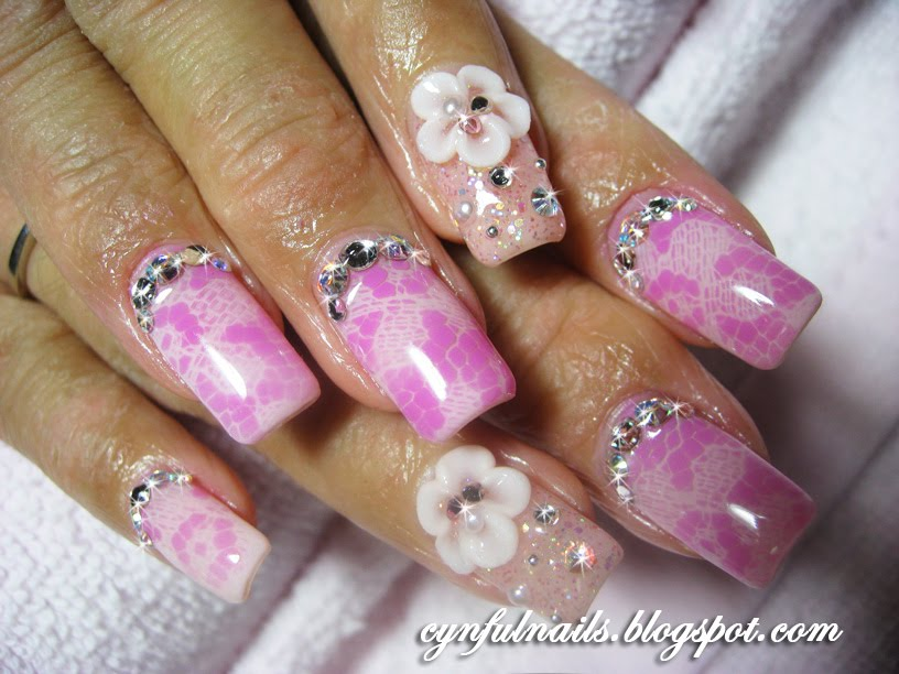 Cynful nails airbrushed lace design 4 sets of airbrushed lace design pink purple and white prinsesfo Images