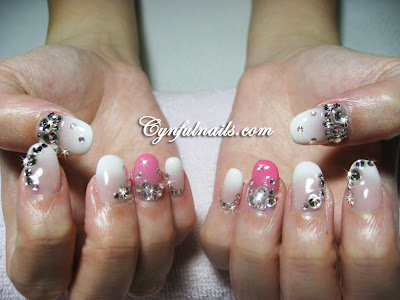 White And Pink With Lots Of Crystals For A Bride