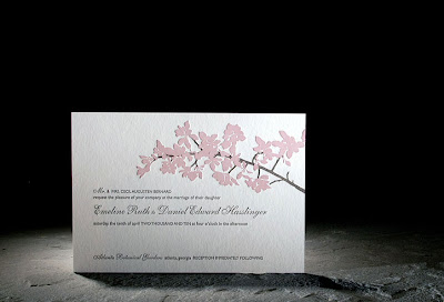 blossom letterpress invite