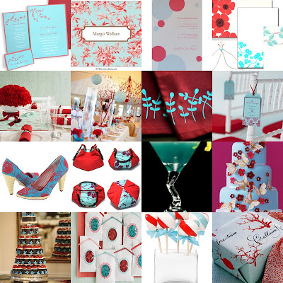 aqua red collage