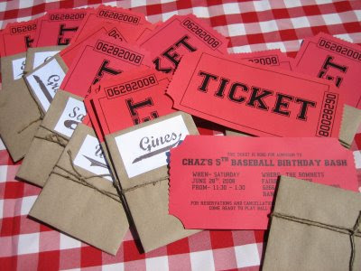 Baseball ticket invites
