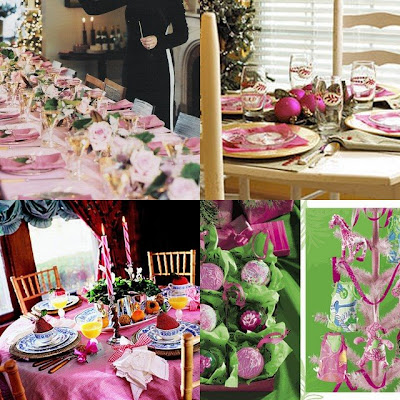 pink Christmas table top