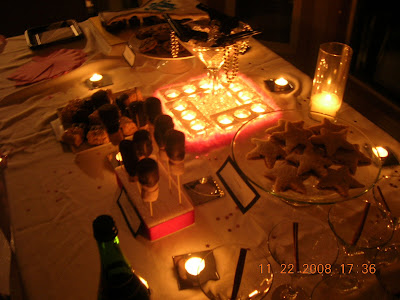 Secret Agent party table by candlelight