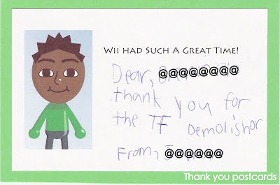 Wii thank you postcard