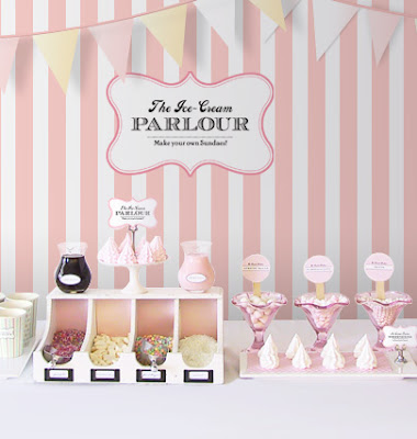 Pink ice-cream buffet
