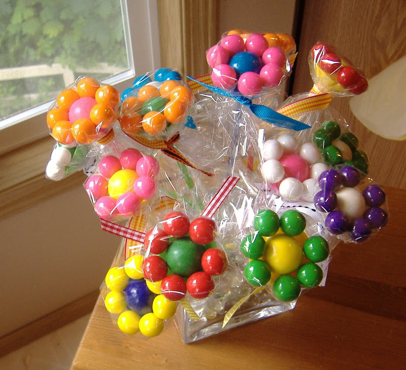 food gifts: tutorial gumball flower for kids