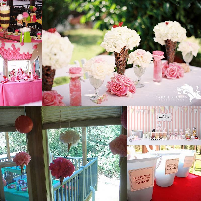 pretty in pink ice cream party collage
