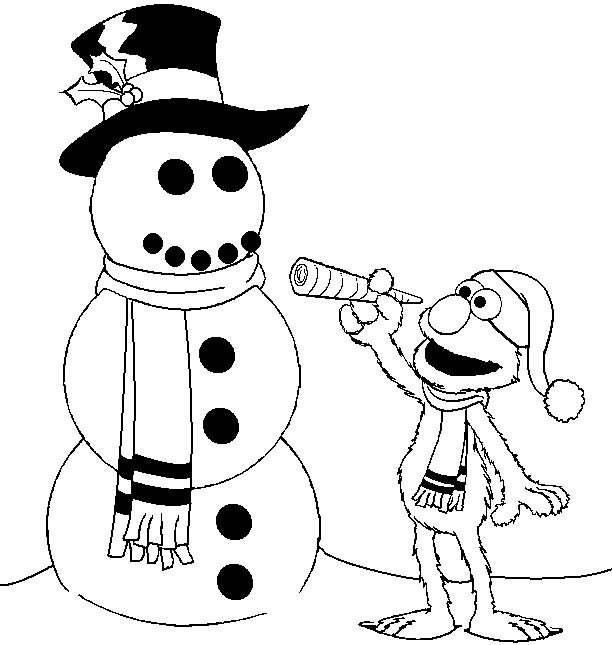 Elmo snowman coloring pages